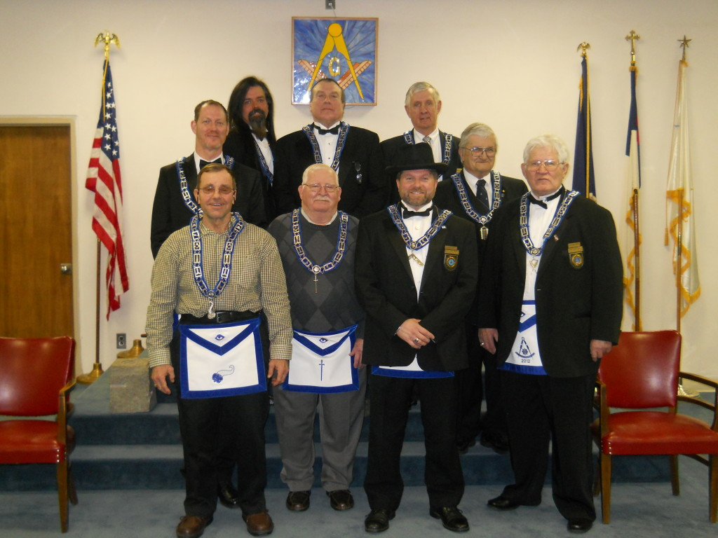 Wor. David Eugene Campbell II and his 2015 lodge officers.